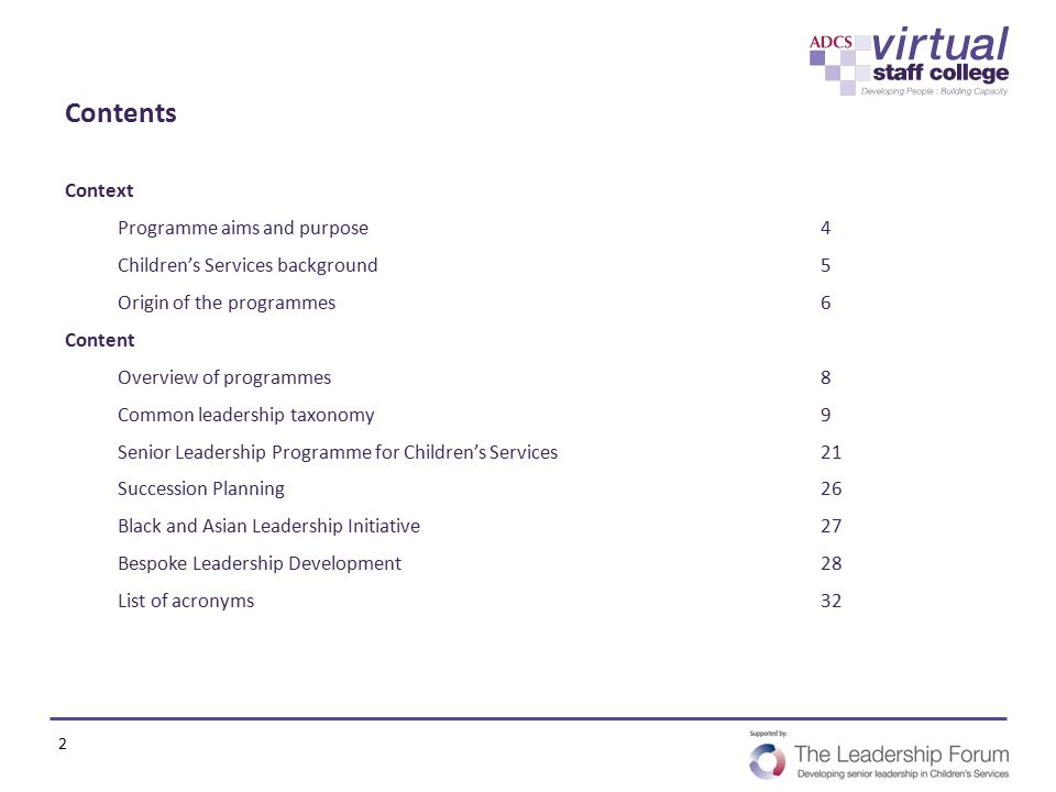 Contents Context Programme aims and purpose4 Children's Services background5 Origin of the programmes6 Content Overview of programmes8 Common leadersh