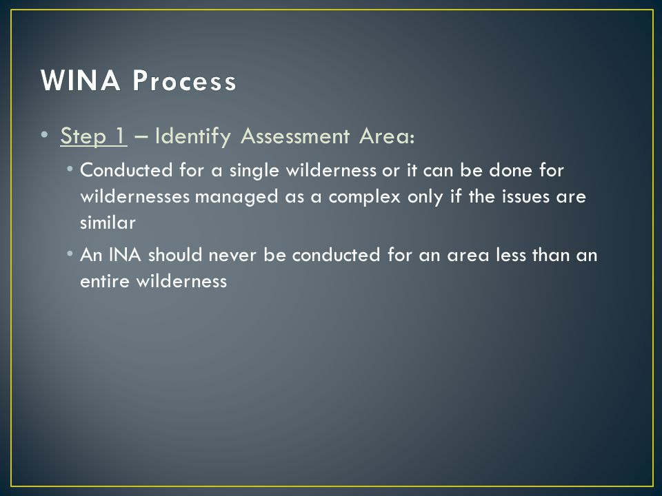 Step 1 – Identify Assessment Area: Conducted for a single wilderness or it can be done for wildernesses managed as a complex only if the issues are similar An INA should never be conducted for an area less than an entire wilderness