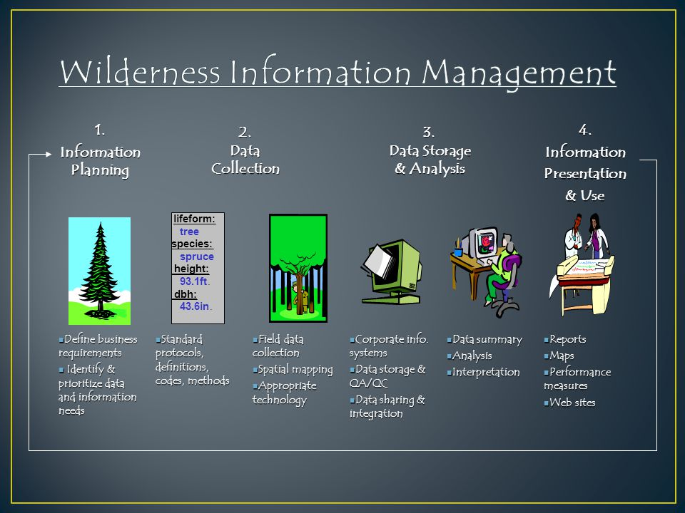1. Information Planning 4.InformationPresentation & Use Define business requirements Define business requirements Identify & prioritize data and infor