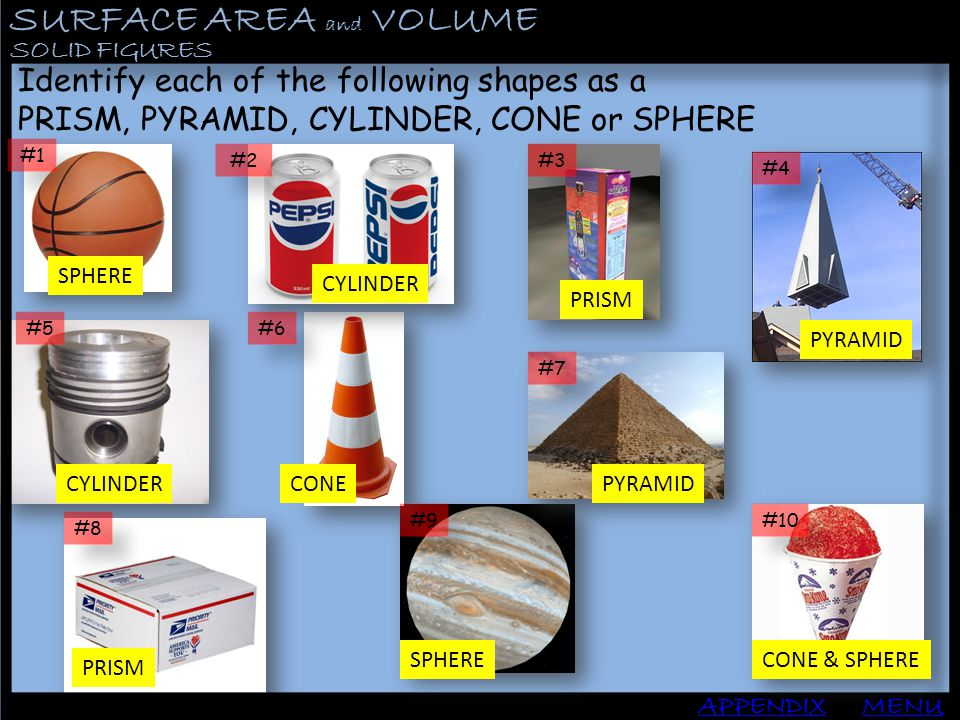 SURFACE AREA and VOLUME APPENDIX SOLID FIGURES MENU Identify each of the following shapes as a PRISM, PYRAMID, CYLINDER, CONE or SPHERE #1 #2 #3 #4 #5