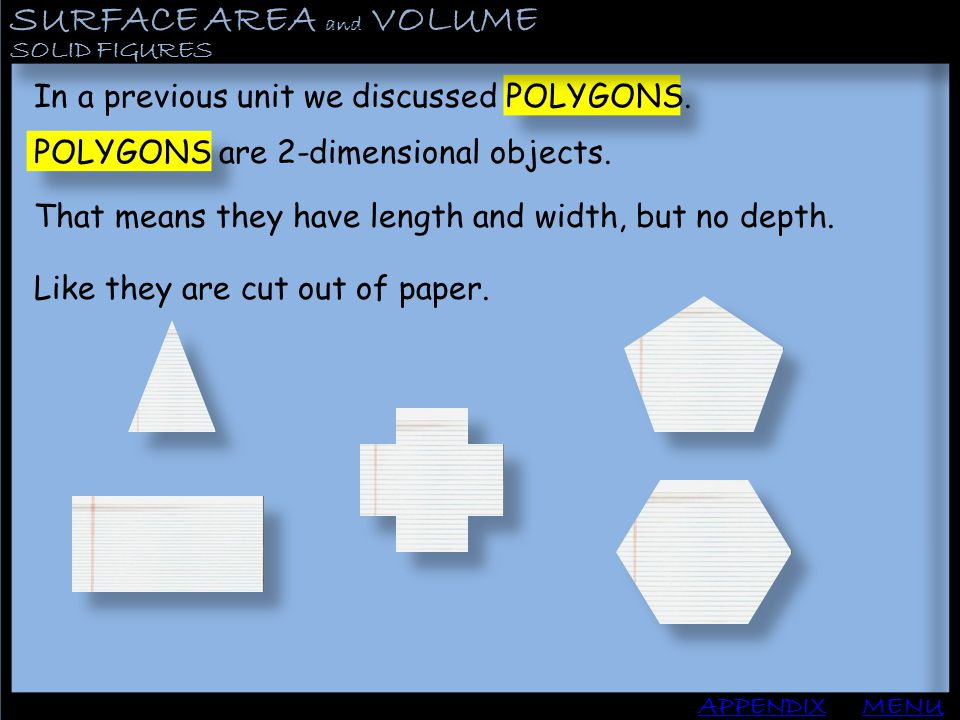 SURFACE AREA and VOLUME APPENDIX SOLID FIGURES MENU In a previous unit we discussed POLYGONS. POLYGONS are 2-dimensional objects. That means they have