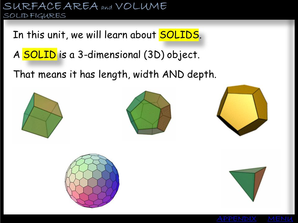SURFACE AREA and VOLUME APPENDIX SOLID FIGURES MENU In this unit, we will learn about SOLIDS. A SOLID is a 3-dimensional (3D) object. That means it ha
