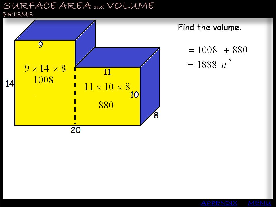 SURFACE AREA and VOLUME APPENDIX PRISMS MENU Find the volume.