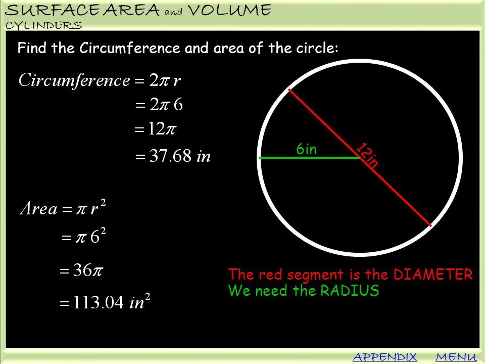 SURFACE AREA and VOLUME APPENDIX CYLINDERS MENU Find the Circumference and area of the circle: 12in 6in The red segment is the DIAMETER We need the RA