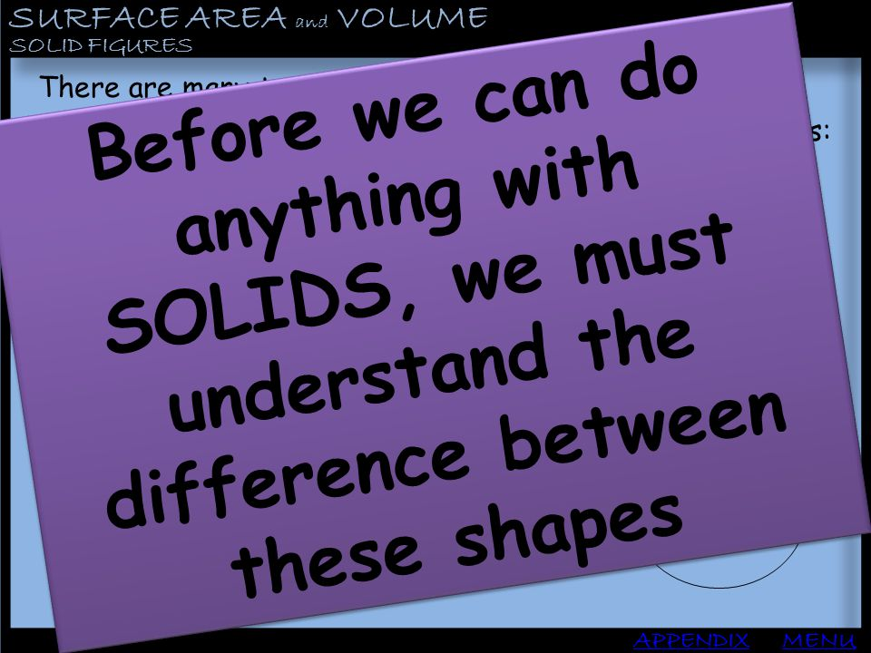 SURFACE AREA and VOLUME APPENDIX SOLID FIGURES MENU PRISMS: To create a prism, draw any polygon you like.