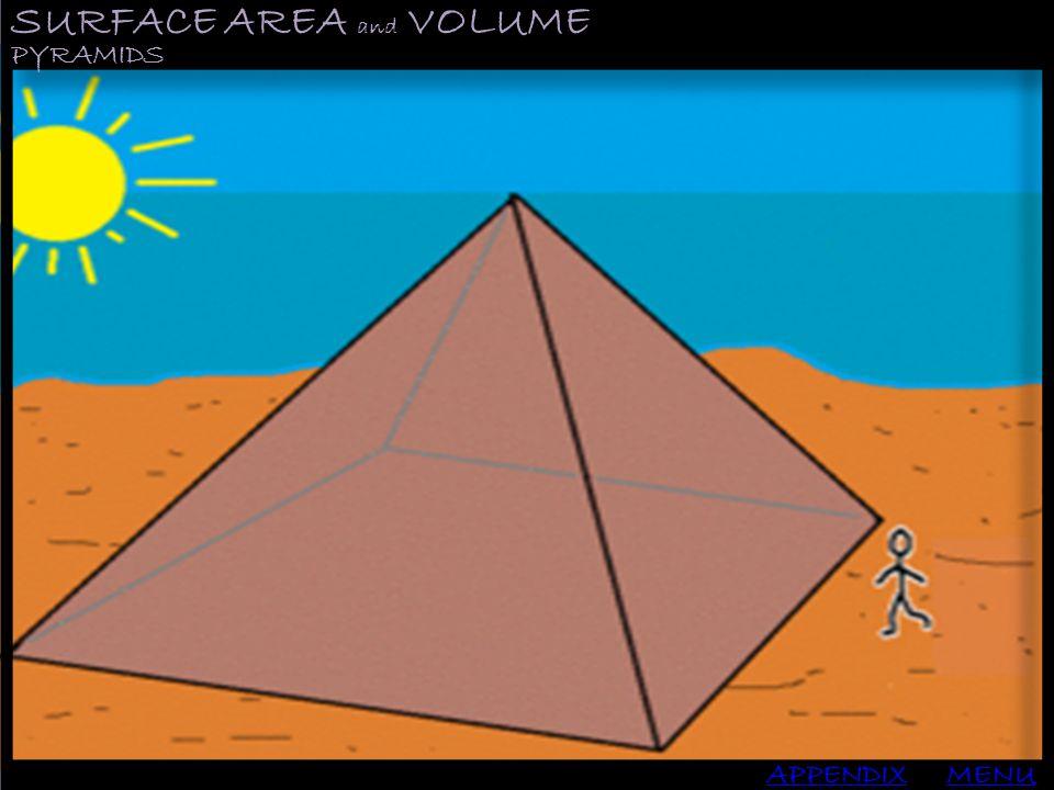 SURFACE AREA and VOLUME APPENDIX PYRAMIDS MENU