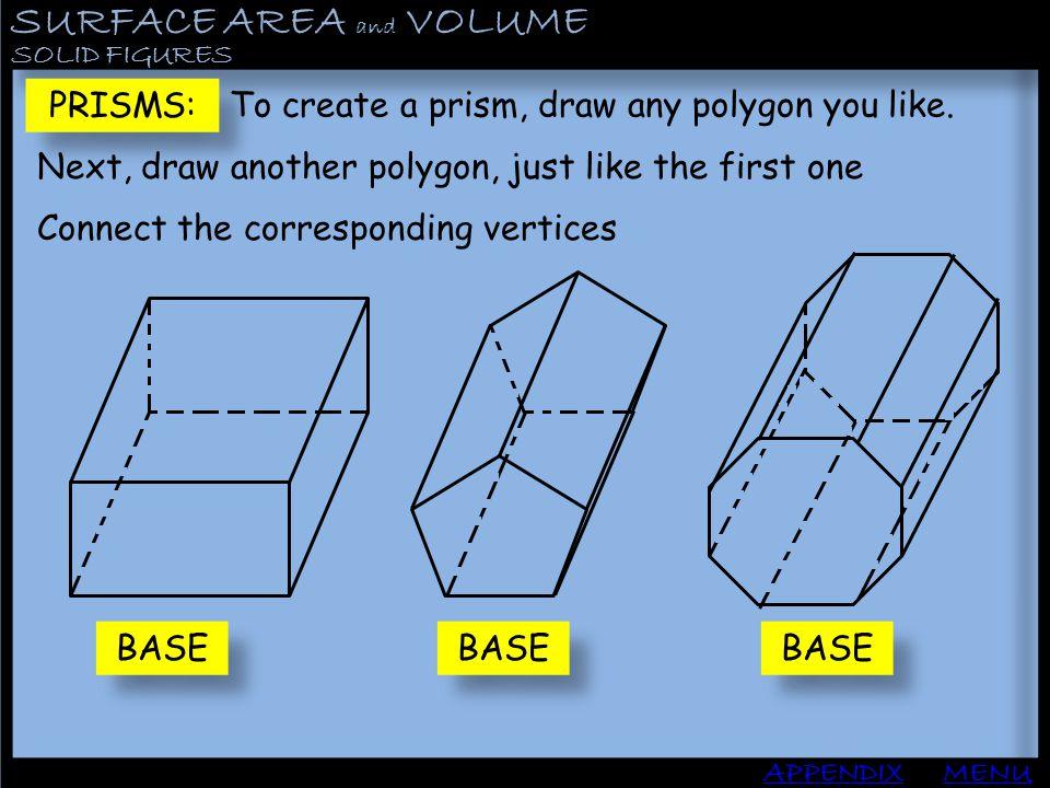 SURFACE AREA and VOLUME APPENDIX PYRAMIDS MENU Find the Lateral Area, Surface area and Volume: B: P: 400 80