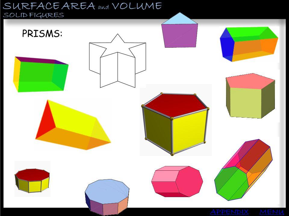 SURFACE AREA and VOLUME APPENDIX PYRAMIDS MENU Find the Lateral Area, Surface area and Volume: B: P: 400 80 10 h