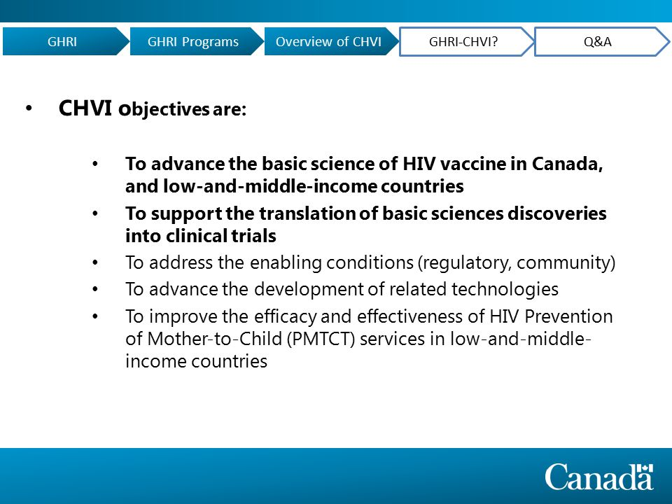 CHVI o bjectives are: To advance the basic science of HIV vaccine in Canada, and low-and-middle-income countries To support the translation of basic sciences discoveries into clinical trials To address the enabling conditions (regulatory, community) To advance the development of related technologies To improve the efficacy and effectiveness of HIV Prevention of Mother-to-Child (PMTCT) services in low-and-middle- income countries GHRIGHRI ProgramsOverview of CHVI GHRI-CHVI Q&A