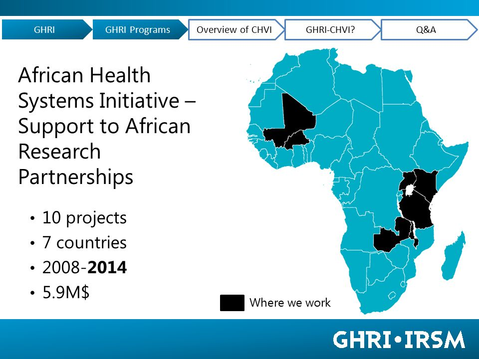 African Health Systems Initiative – Support to African Research Partnerships 10 projects 7 countries 2008-2014 5.9M$ Where we work GHRIGHRI Programs Overview of CHVIGHRI-CHVI Q&A