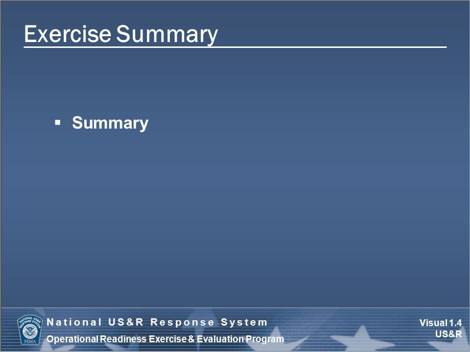 Visual 1.4 US&R National US&R Response System Operational Readiness Exercise & Evaluation Program Exercise Summary  Summary