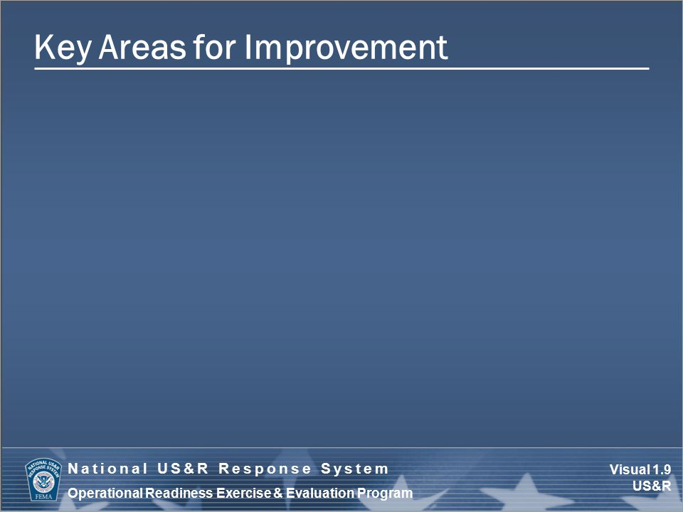 Visual 1.10 US&R National US&R Response System Operational Readiness Exercise & Evaluation Program Report Approval Process Decision by consensus Unresolved issues (e.g., consensus not attained)  Consider compromises  Refer to exercise lead  Consult with applicable organization