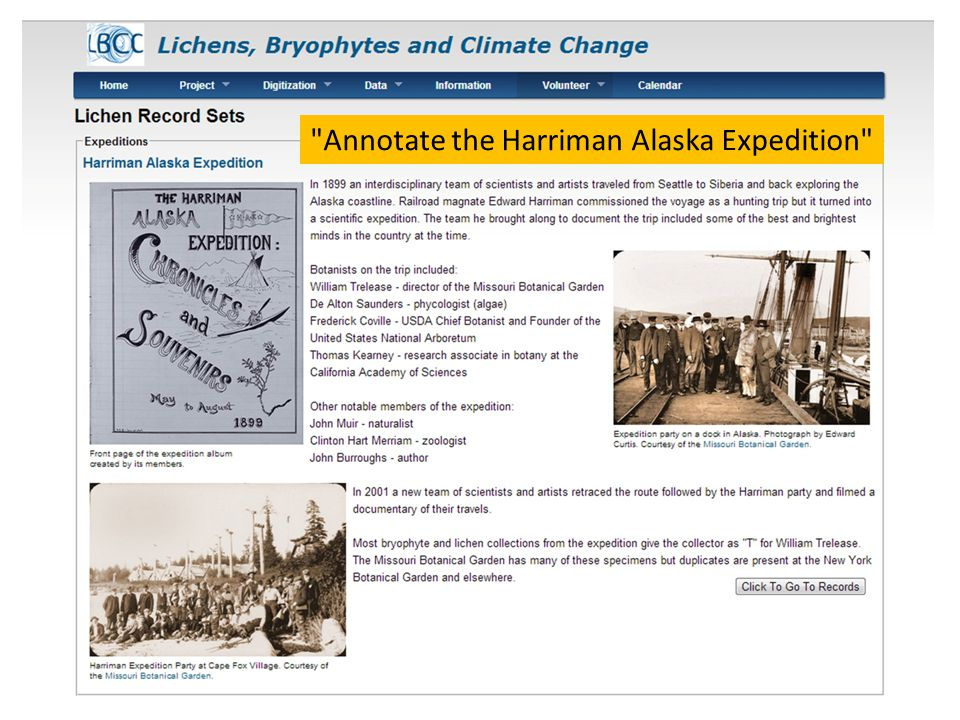 Annotate the Harriman Alaska Expedition
