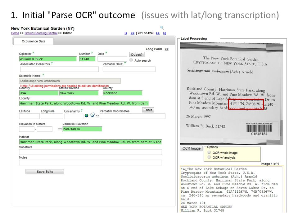 1. Initial Parse OCR outcome (issues with lat/long transcription)