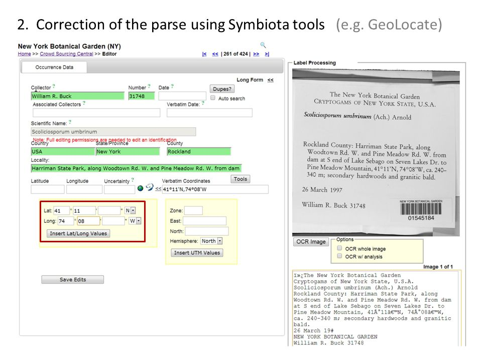 2. Correction of the parse using Symbiota tools (e.g. GeoLocate)
