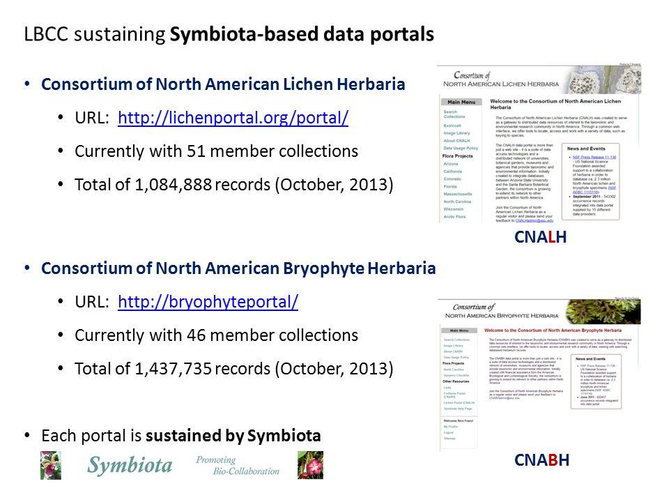 Lichen portal – 7,302 visitors / 3 months Bryophyte portal – 1,530 visitors / 3 months LBCC member portals are active virtual environments