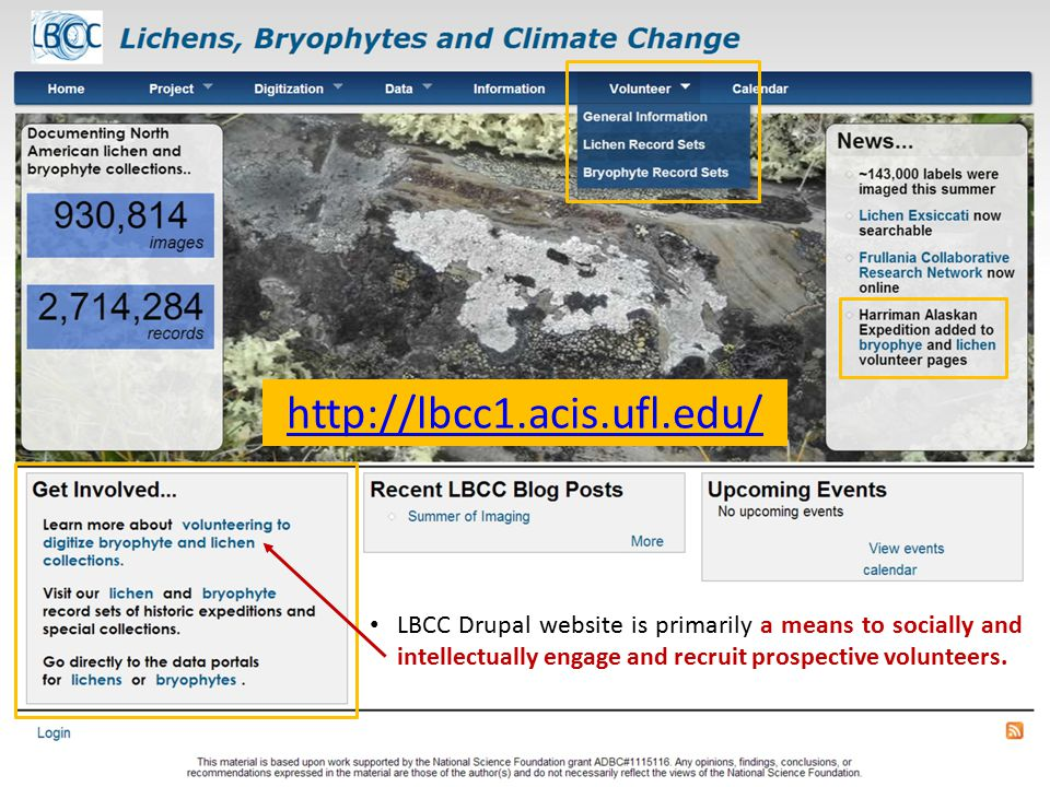 LBCC Drupal website is primarily a means to socially and intellectually engage and recruit prospective volunteers.