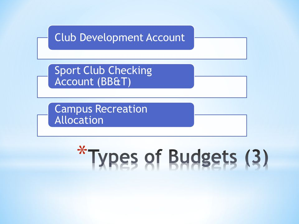 Club Development Account Sport Club Checking Account (BB&T) Campus Recreation Allocation