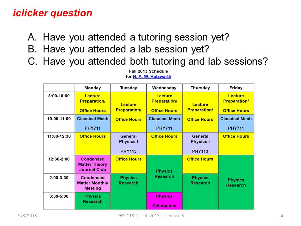 9/3/2013PHY 113 C Fall 2013 -- Lecture 34 iclicker question A.Have you attended a tutoring session yet.