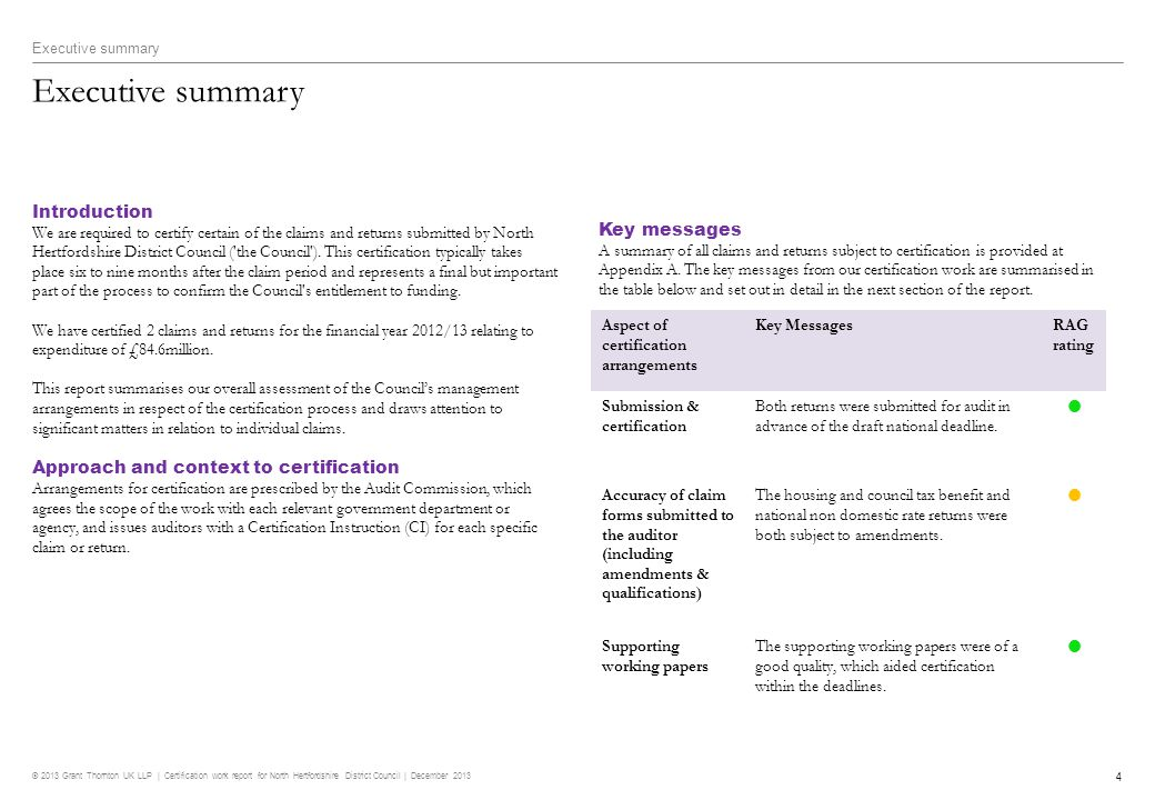 © 2013 Grant Thornton UK LLP | Certification work report for North Hertfordshire District Council | December 2013 5 Executive summary Overall review of financial statements The way forward We set out recommendations to address the key messages above and other findings arising from our certification work at Appendix B.