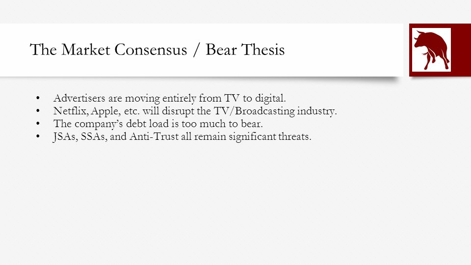 The Market Consensus / Bear Thesis Advertisers are moving entirely from TV to digital.