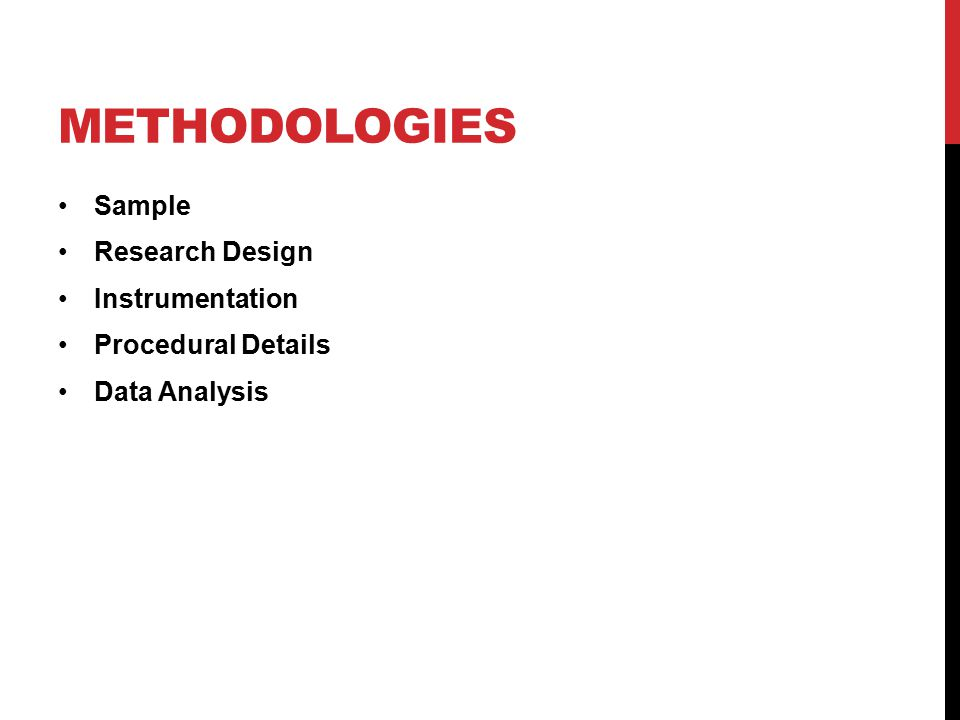 METHODOLOGIES Sample Research Design Instrumentation Procedural Details Data Analysis