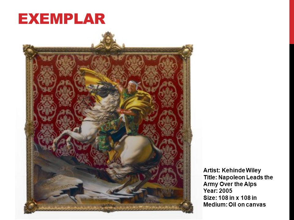 EXEMPLAR Artist: Kehinde Wiley Title: Napoleon Leads the Army Over the Alps Year: 2005 Size: 108 in x 108 in Medium: Oil on canvas