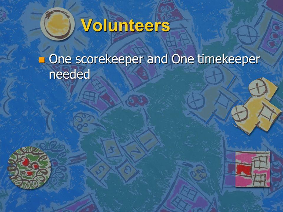 Volunteers n One scorekeeper and One timekeeper needed