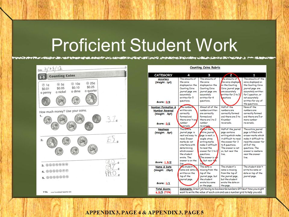 Proficient Student Work APPENDIX 3, PAGE 4 & APPENDIX 3, PAGE 5