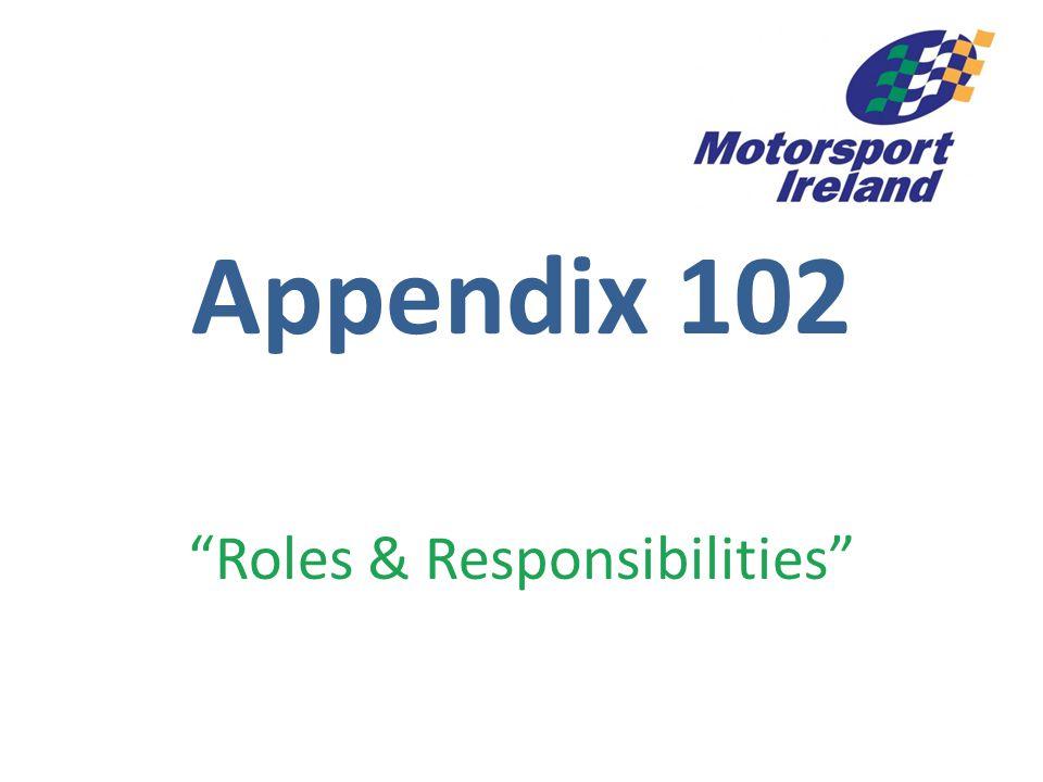 """Appendix 102 """"Roles & Responsibilities"""""""