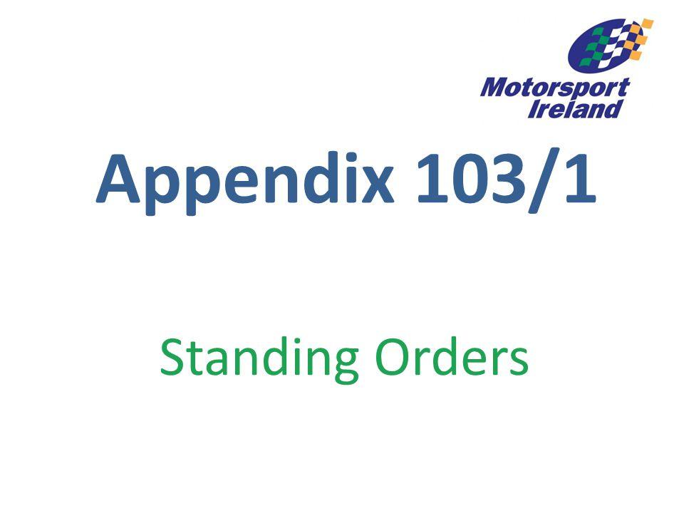 Appendix 103/1 Standing Orders