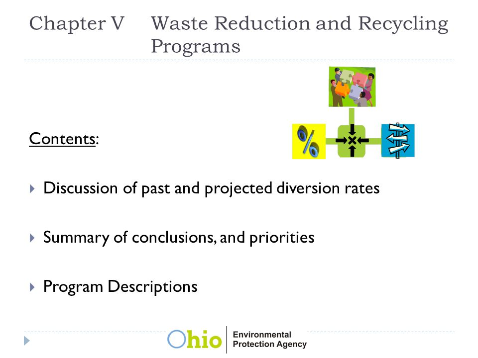 Chapter VWaste Reduction and Recycling Programs Contents:  Discussion of past and projected diversion rates  Summary of conclusions, and priorities  Program Descriptions
