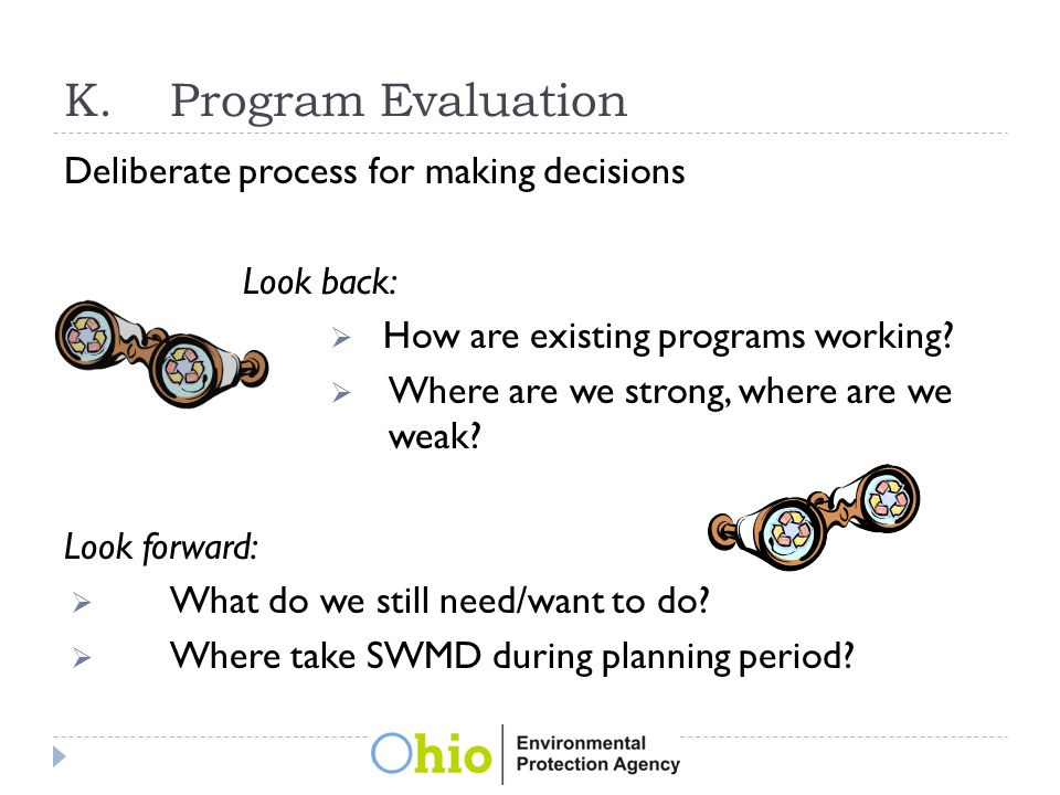 K.Program Evaluation Deliberate process for making decisions Look back:  How are existing programs working.