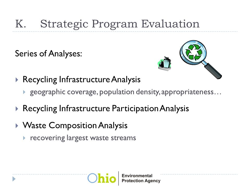 K.Strategic Program Evaluation Series of Analyses:  Recycling Infrastructure Analysis  geographic coverage, population density, appropriateness…  Recycling Infrastructure Participation Analysis  Waste Composition Analysis  recovering largest waste streams