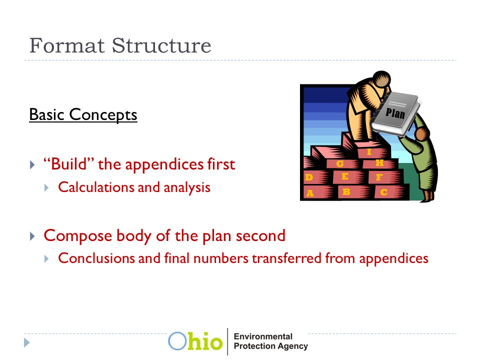 Format Structure Basic Concepts  Build the appendices first  Calculations and analysis  Compose body of the plan second  Conclusions and final numbers transferred from appendices A B C D E F G H I Plan