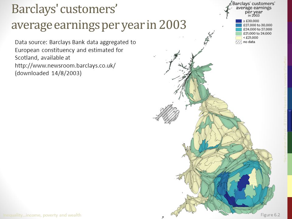 The Population of the UK – © 2012 Sasi Research Group, University of Sheffield Figure 6.2 Inequality…income, poverty and wealth Barclays' customers' a