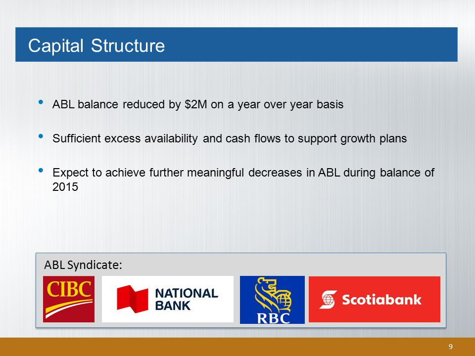 9 ABL balance reduced by $2M on a year over year basis Sufficient excess availability and cash flows to support growth plans Expect to achieve further meaningful decreases in ABL during balance of 2015 ABL Syndicate: