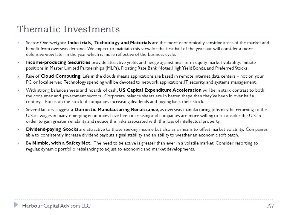 Thematic Investments Harbour Capital Advisors LLC A7  Sector Overweights: Industrials, Technology and Materials are the more economically sensitive areas of the market and benefit from overseas demand.
