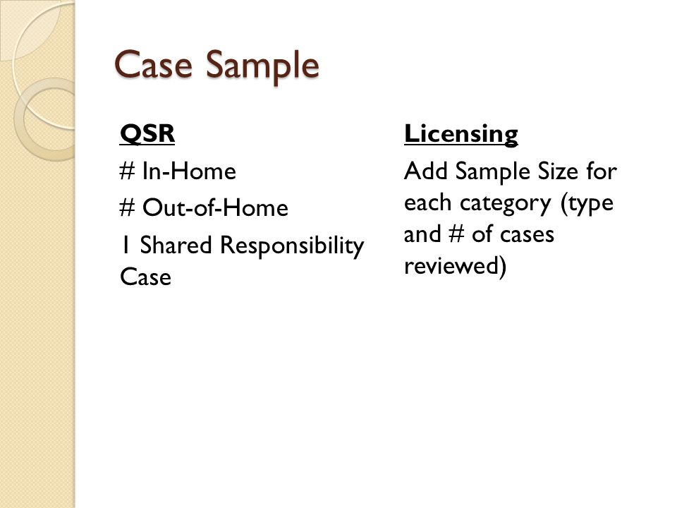 Case Sample QSR # In-Home # Out-of-Home 1 Shared Responsibility Case Licensing Add Sample Size for each category (type and # of cases reviewed)