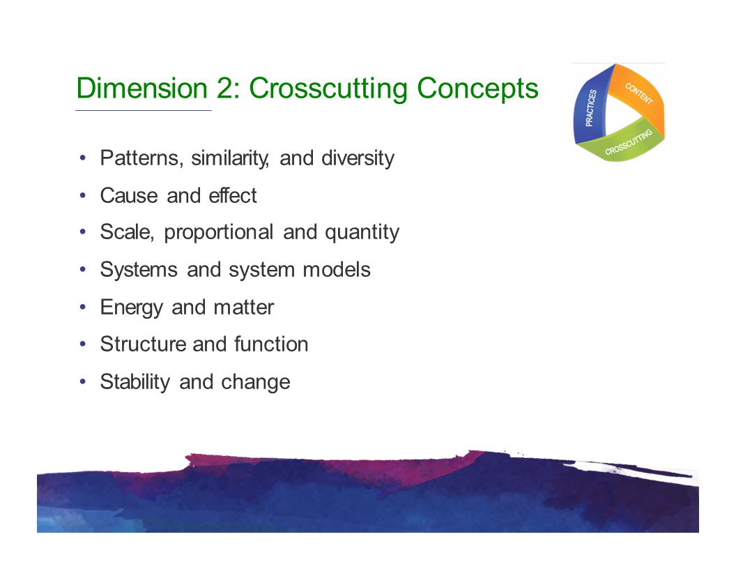 Dimension 2: Crosscutting Concepts Patterns, similarity, and diversity Cause and effect Scale, proportional and quantity Systems and system models Energy and matter Structure and function Stability and change