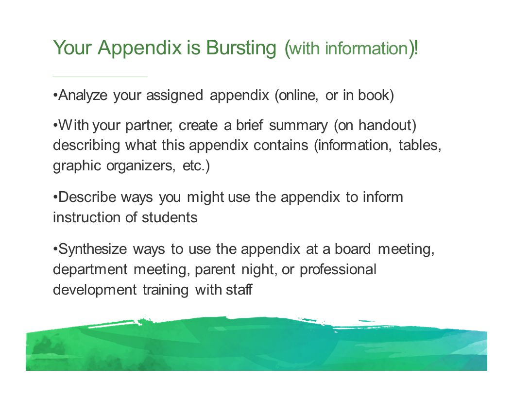 Your Appendix is Bursting ( with information ).