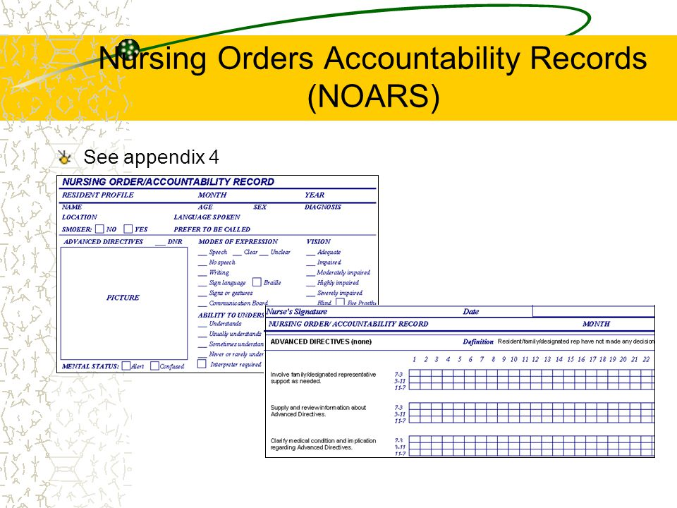 Nursing Orders Accountability Records (NOARS) See appendix 4