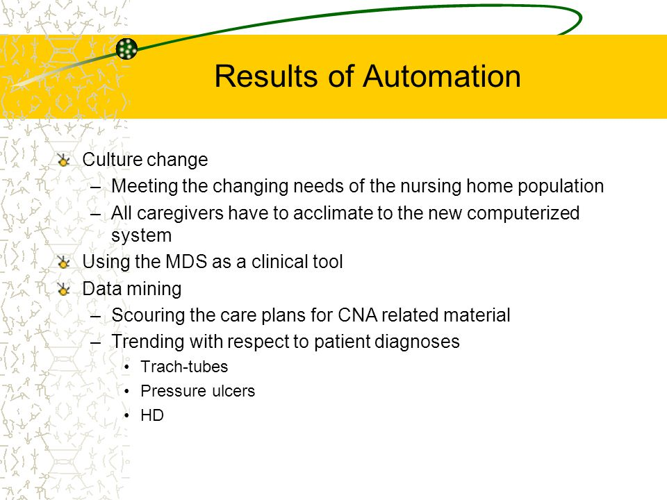 Results of Automation Culture change –Meeting the changing needs of the nursing home population –All caregivers have to acclimate to the new computerized system Using the MDS as a clinical tool Data mining –Scouring the care plans for CNA related material –Trending with respect to patient diagnoses Trach-tubes Pressure ulcers HD