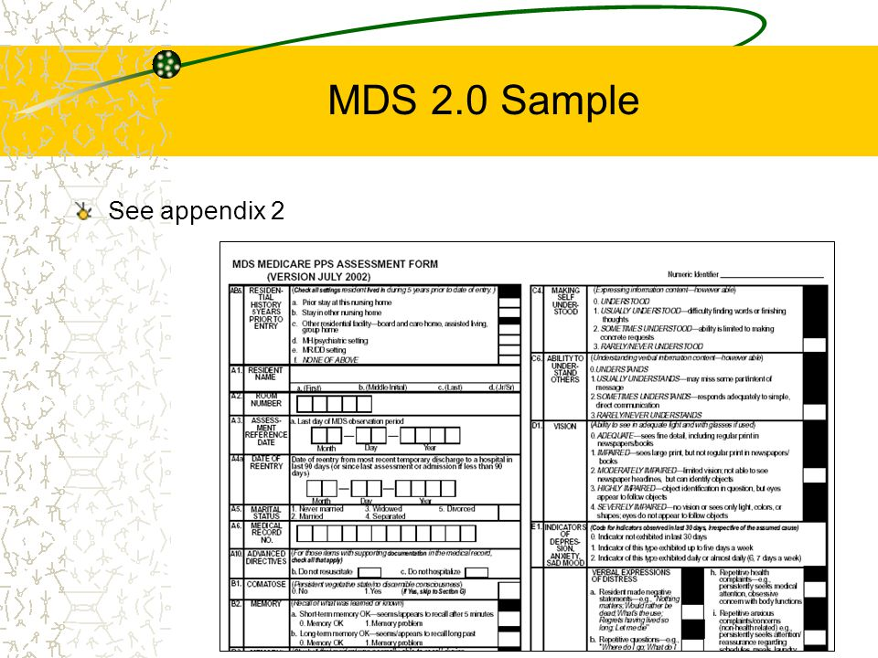 MDS 2.0 Sample See appendix 2