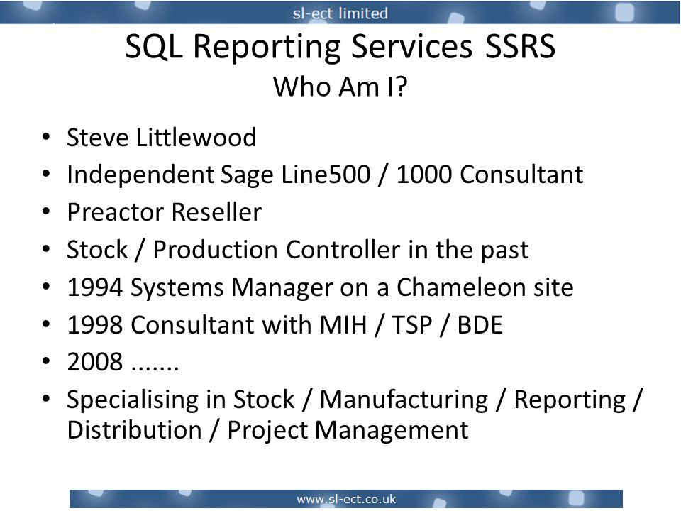 SQL Reporting Services SSRS Appendix – More Examples Credit Status Using conditional formatting to show in amber a customer who is at risk of going on credit stop Interactive column sorts