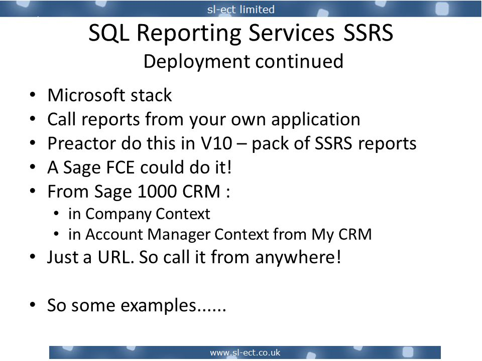 SQL Reporting Services SSRS Examples – Stock Value Summary Click to drill to a detail screen (Wh=BB shown on next slide)