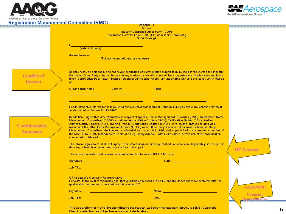 San Diego, CA January 20, 2011 Registration Management Committee (RMC) 6 Conflict of Interest Confidentiality Statement OP Assessor AAQG/RMC Company Representative