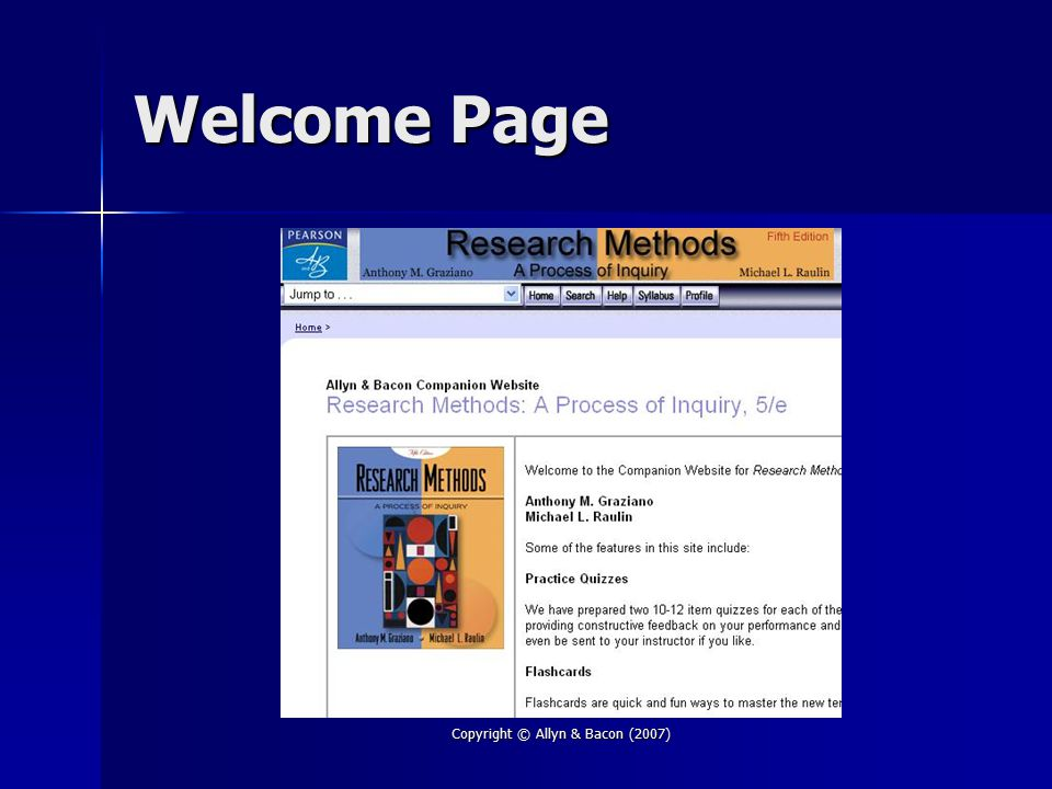 Copyright © Allyn & Bacon (2007) Welcome Page
