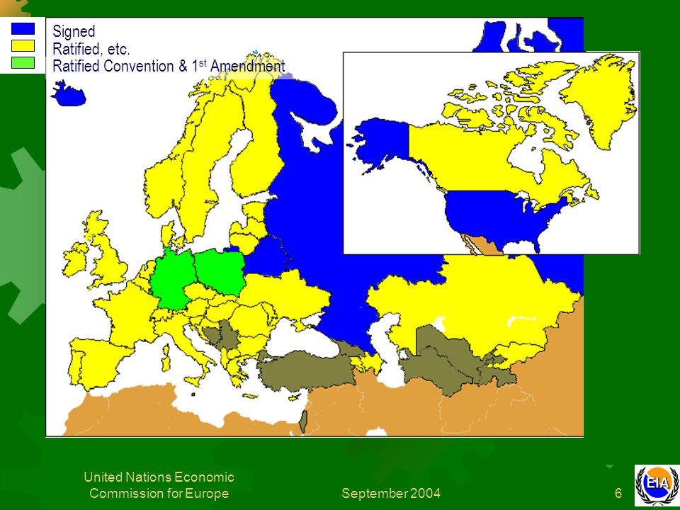 September 2004 United Nations Economic Commission for Europe7 Introduction – organigram Meeting of the Parties Working Group on Environmental Impact Assessment Implementation Committee Secretariat Bureau The Convention is overseen by the Meeting of the Parties (MOP), which met in 1998 2001 and 2004.