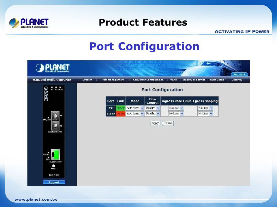 www.planet.com.tw Product Features Port Configuration